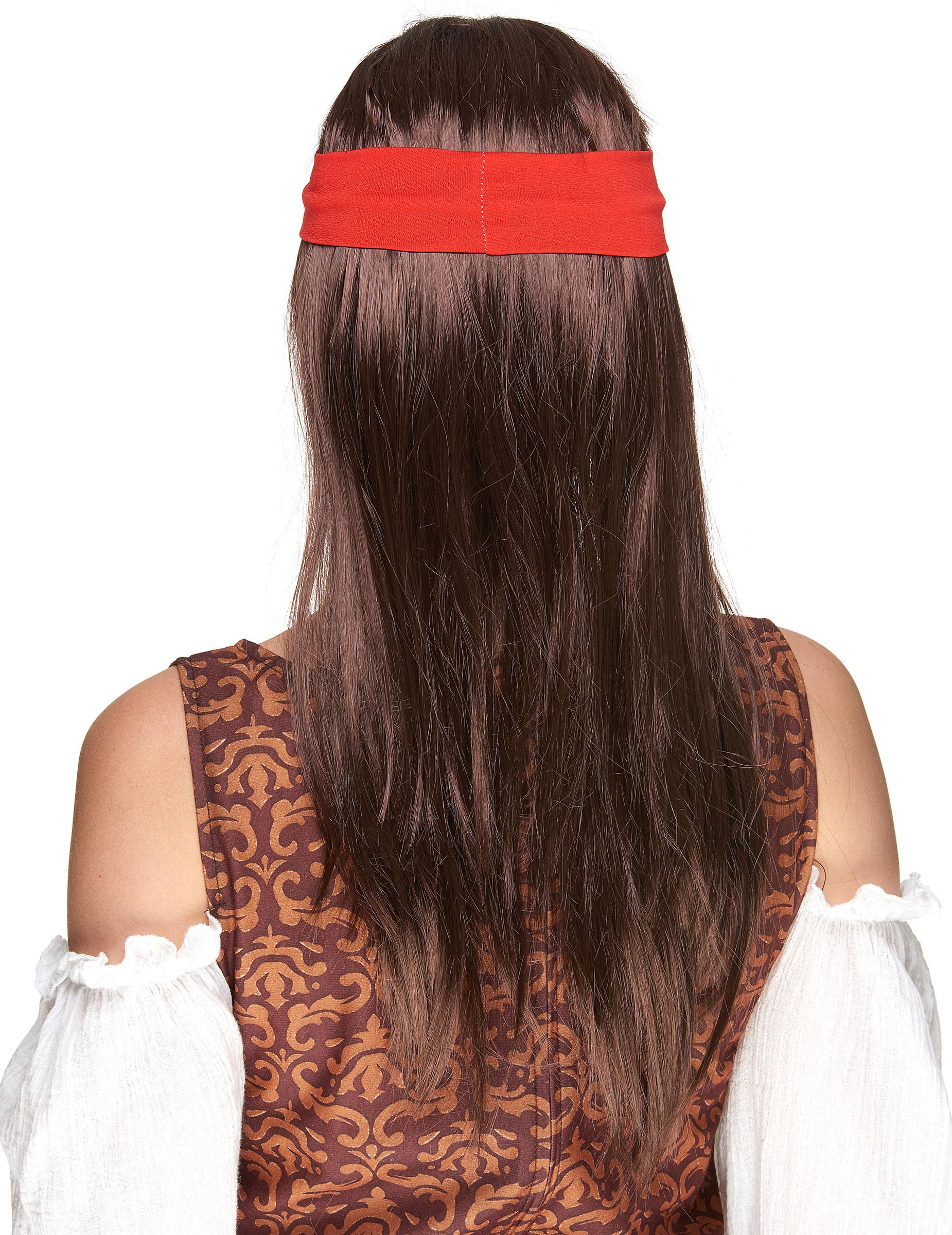 perruque pirate avec bandana rouge homme d coration anniversaire et f tes th me sur vegaoo party. Black Bedroom Furniture Sets. Home Design Ideas