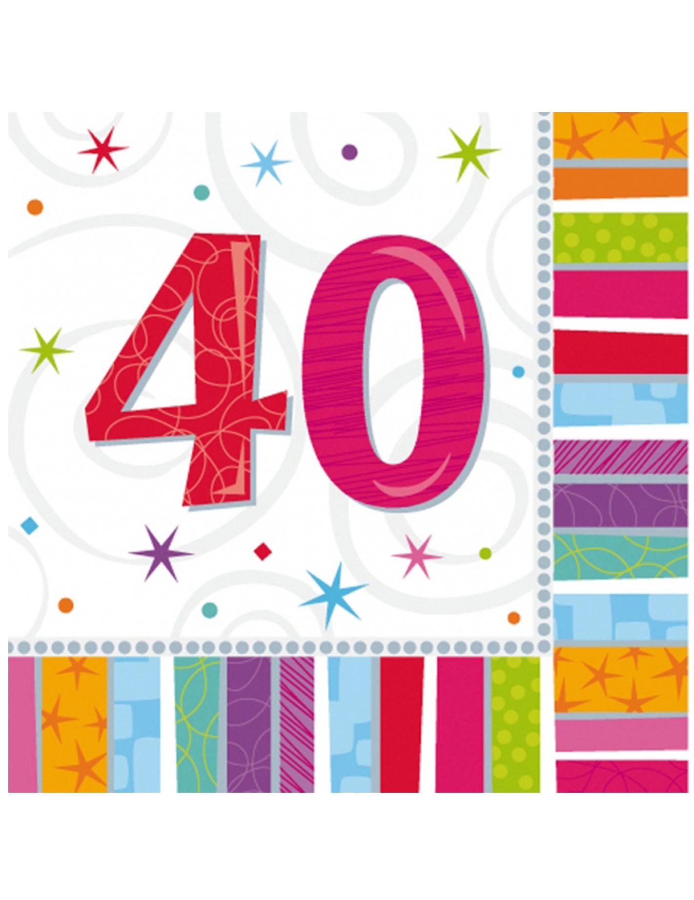16 serviettes en papier 40 ans 33 x 33 cm d coration
