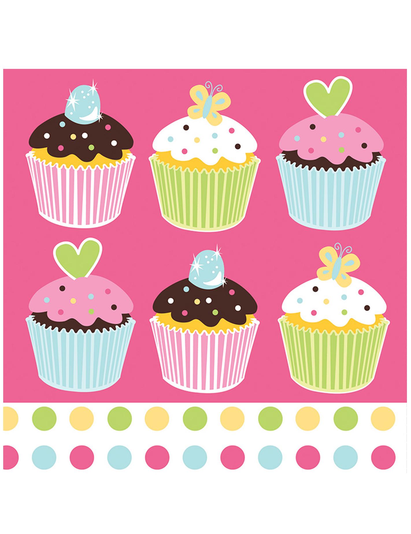 16 serviettes en papier cupcake rose 33 x 33 cm d coration anniversaire et f tes th me sur. Black Bedroom Furniture Sets. Home Design Ideas