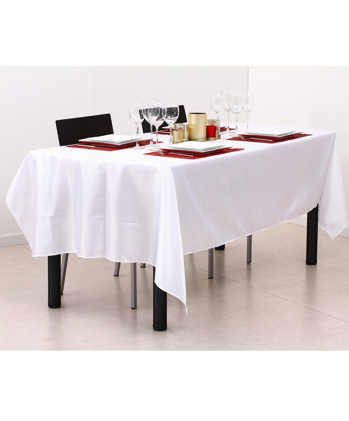 nappe en tissu rectangulaire blanche et or 140 x 240 cm d coration anniversaire et f tes. Black Bedroom Furniture Sets. Home Design Ideas