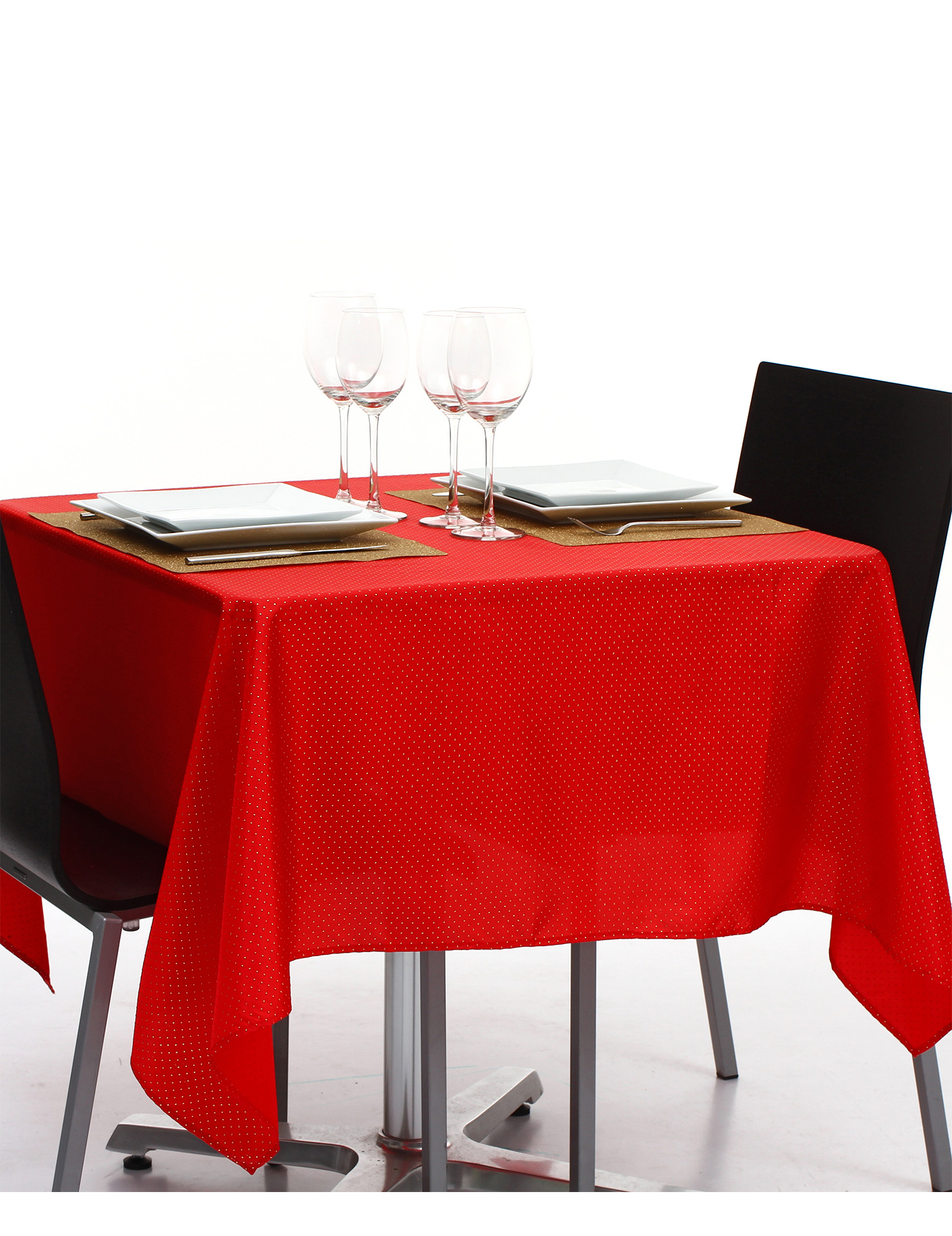nappe carr e en tissu rouge et or 140 x 140 cm d coration anniversaire et f tes th me sur. Black Bedroom Furniture Sets. Home Design Ideas