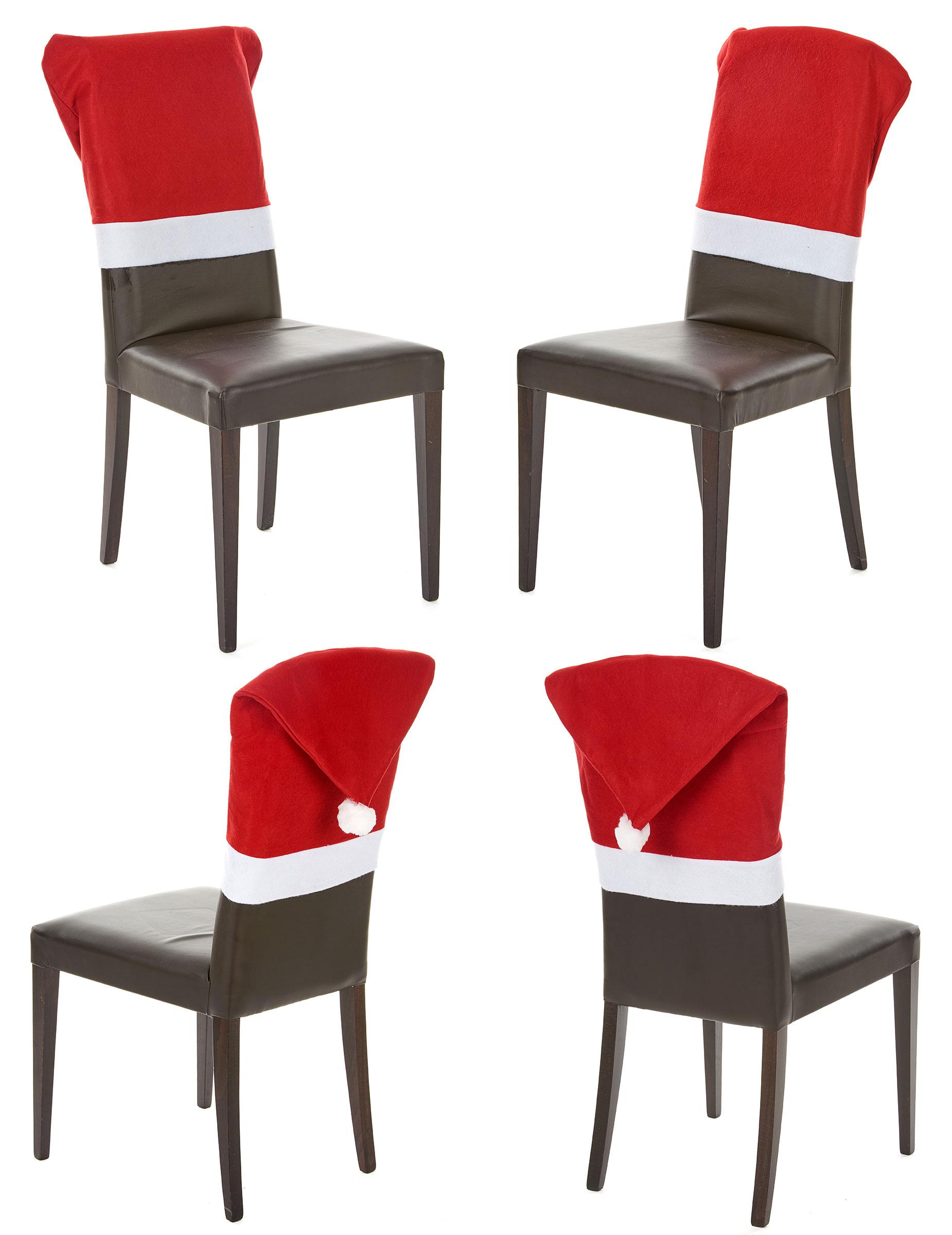 Lot 4 housses de chaise rouge no l d coration - Housses chaises jetables ...
