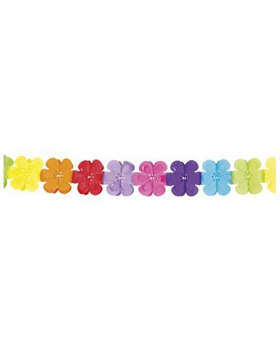 Guirlande multicolore papier fleurs 4 m tres d coration anniversaire et f te - Guirlande fleurs papier ...