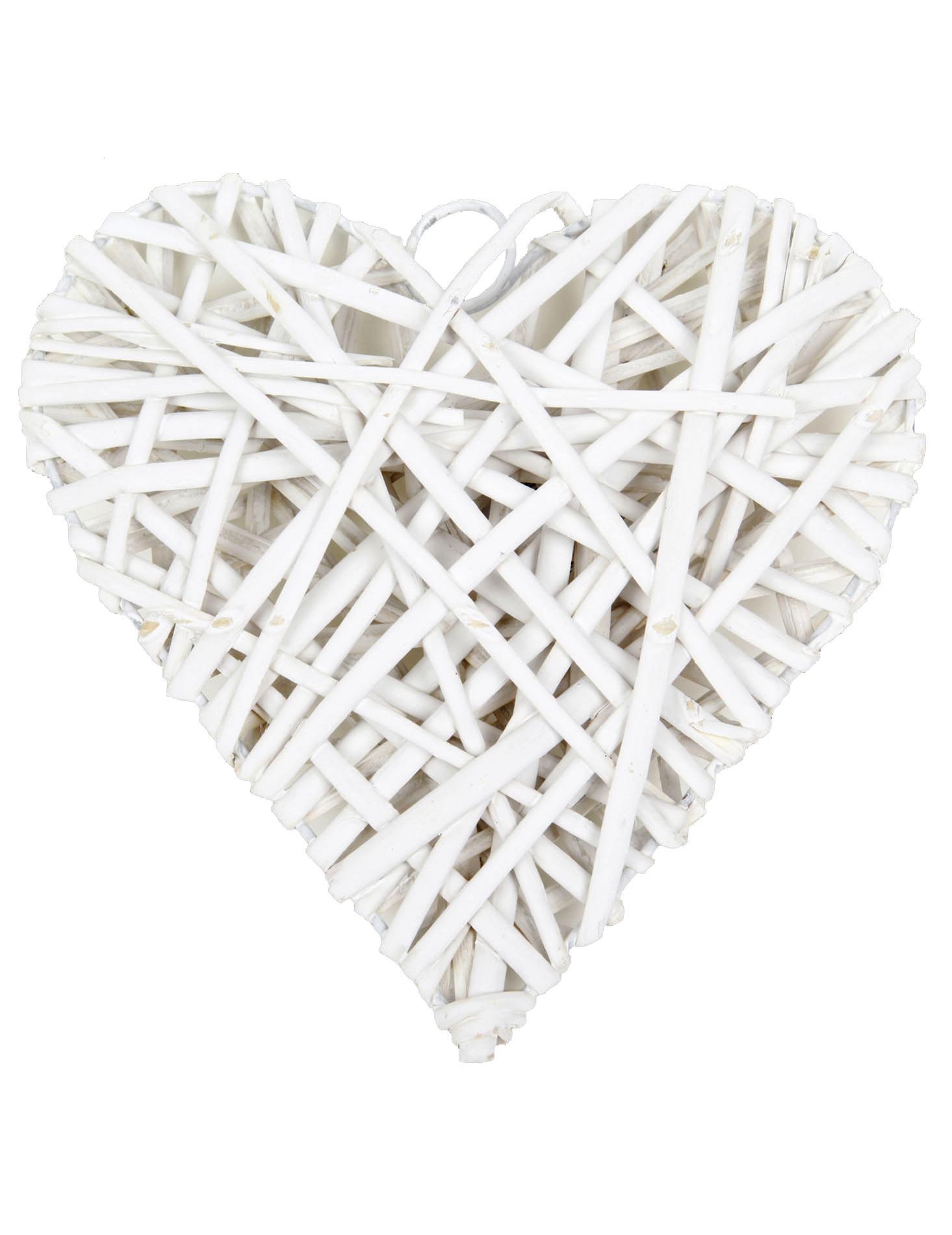 C ur plein en osier blanc 20 cm d coration anniversaire et f tes th me sur vegaoo party - Coeur en osier ...