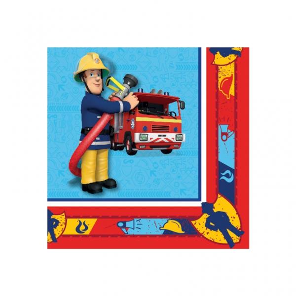 20 serviettes en papier sam le pompier 33 x 33 cm. Black Bedroom Furniture Sets. Home Design Ideas