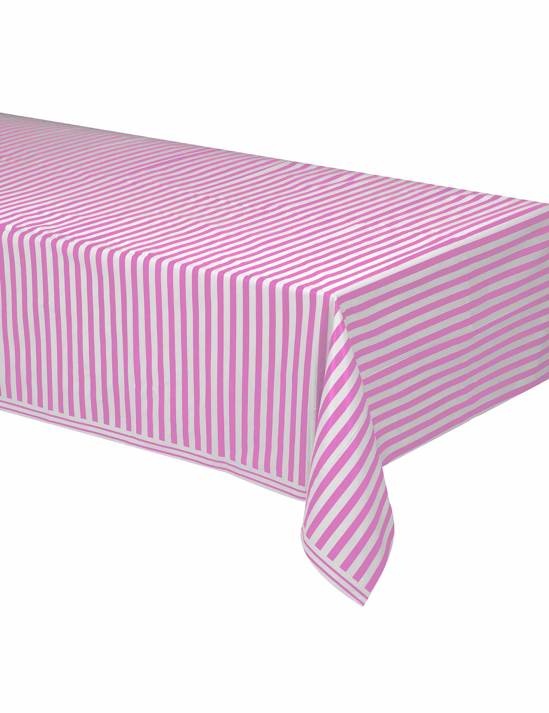 nappe plastique ray e rose et blanc 137 x 274 cm d coration anniversaire et f tes th me sur. Black Bedroom Furniture Sets. Home Design Ideas