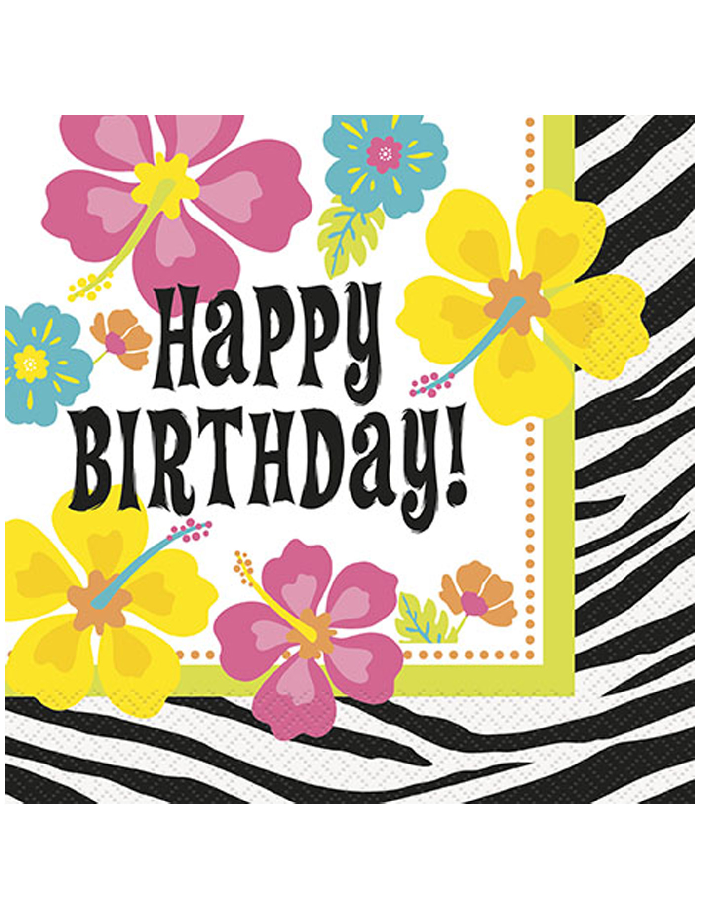 Decoration Anniversaire Zebre : Serviettes en papier happy birthday hibiscus zébré
