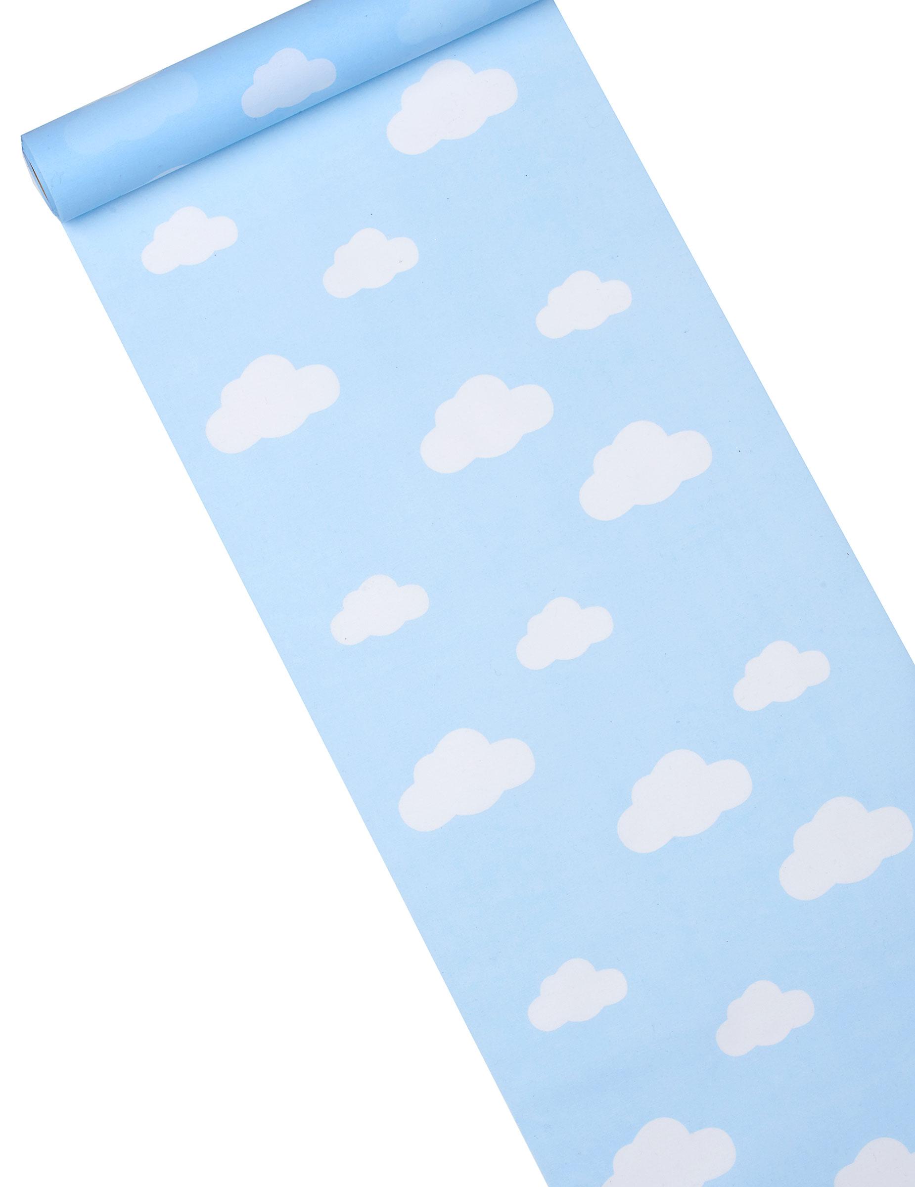 Chemin de table tissu bleu ciel imprim nuage d coration for Chemin de table bleu