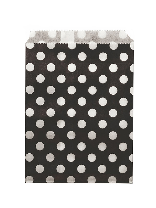 24 sachets papier noir pois blancs d coration anniversaire et f tes th me sur vegaoo party. Black Bedroom Furniture Sets. Home Design Ideas
