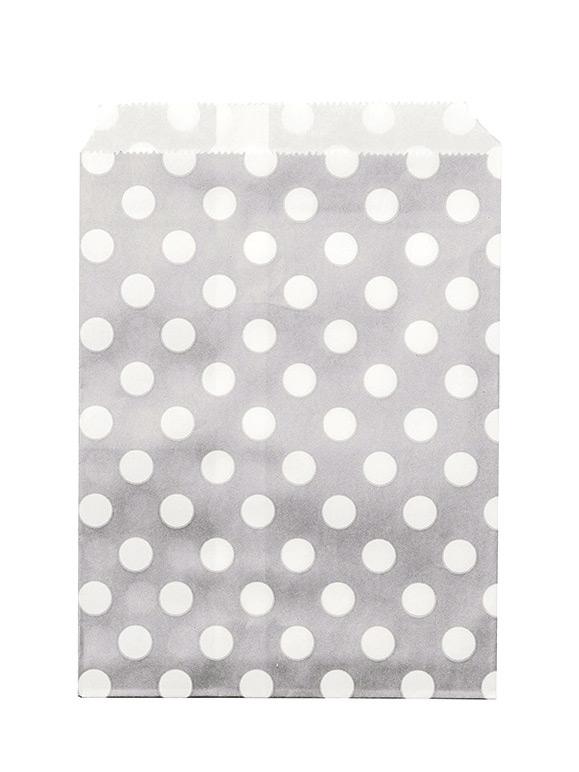24 sachets papier gris pois blancs d coration anniversaire et f tes th me sur vegaoo party. Black Bedroom Furniture Sets. Home Design Ideas