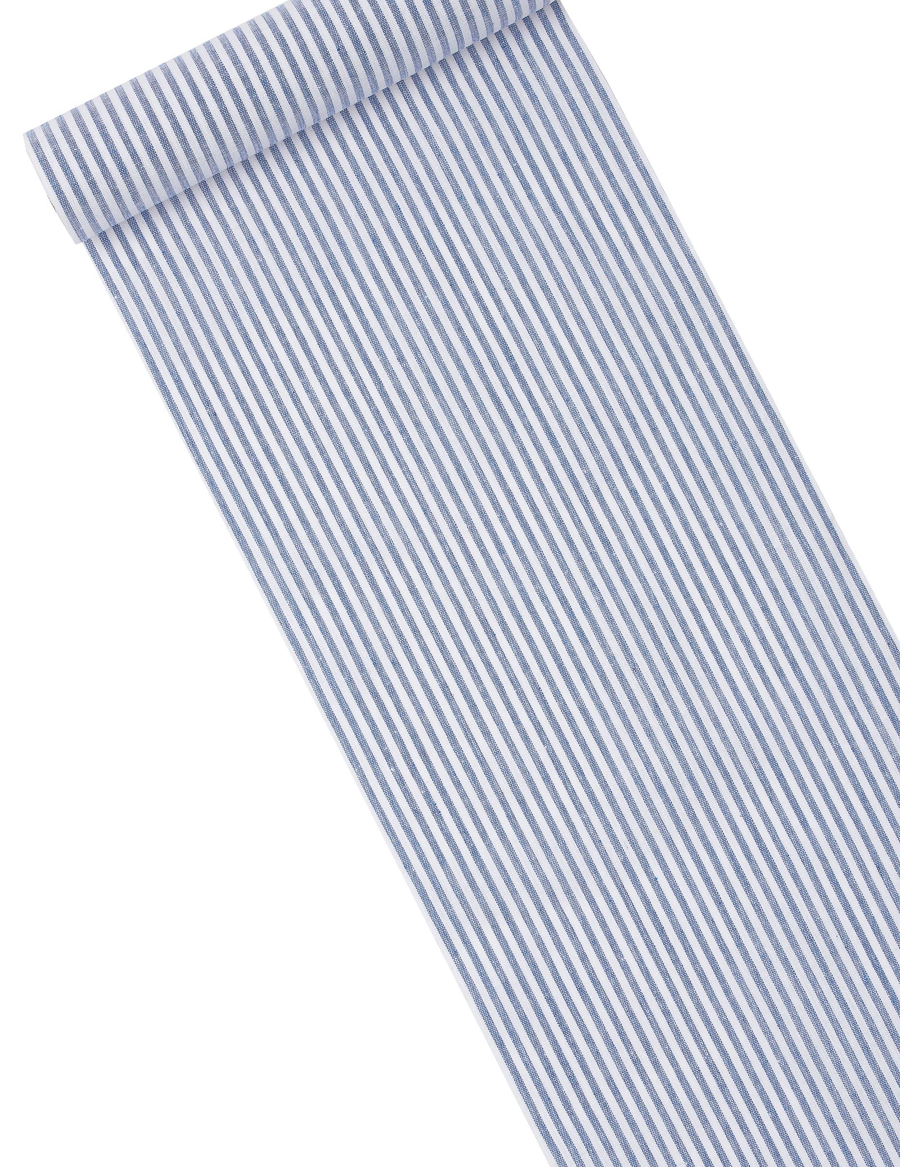 Chemin de table ray bleu marine et blanc d coration for Chemin de table bleu