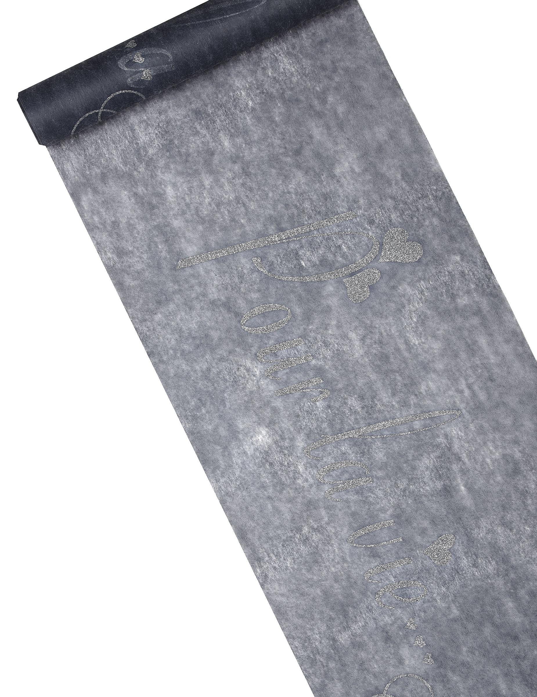 chemin de table intiss gris paillet imprim. Black Bedroom Furniture Sets. Home Design Ideas