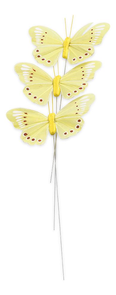 3 papillons jaunes sur tige d coration anniversaire et f tes th me sur vegaoo party - Papillon sur tige ...