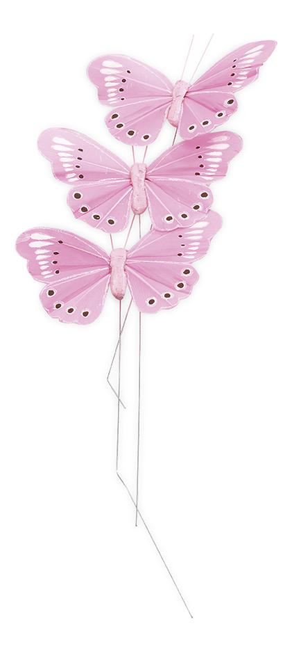 3 papillons roses sur tige 7 5 cm - Papillon sur tige ...