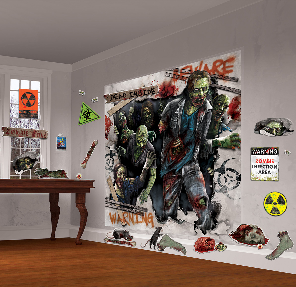 Kit de d coration murale zombies d coration anniversaire for Decoration murale halloween