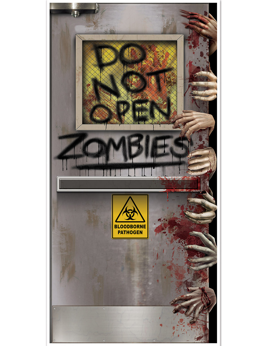 D coration de porte laboratoire zombie halloween for Decoration de porte a suspendre