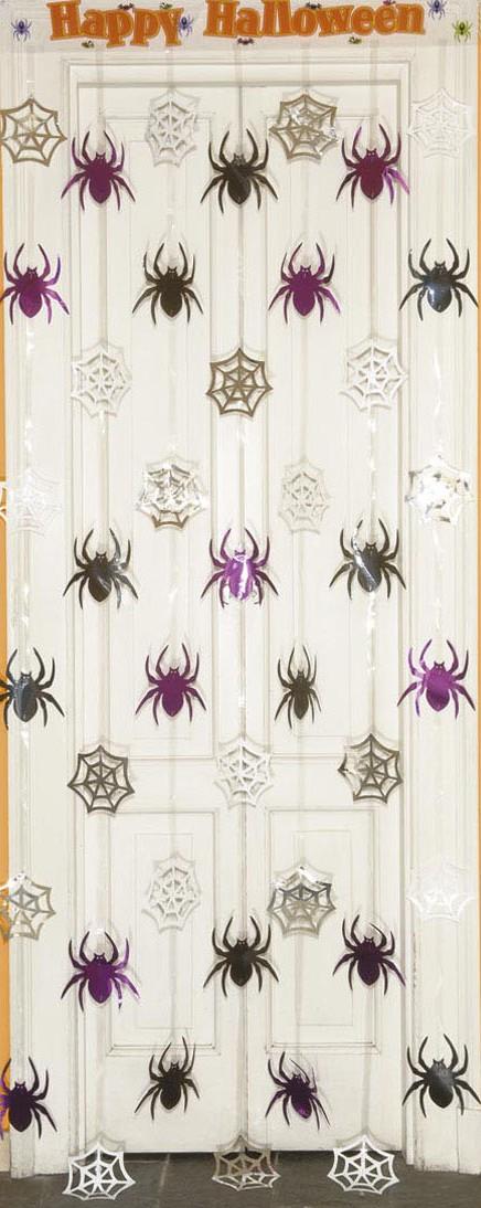 rideau araign es 90 x 200 cm d coration anniversaire et f tes th me sur vegaoo party. Black Bedroom Furniture Sets. Home Design Ideas
