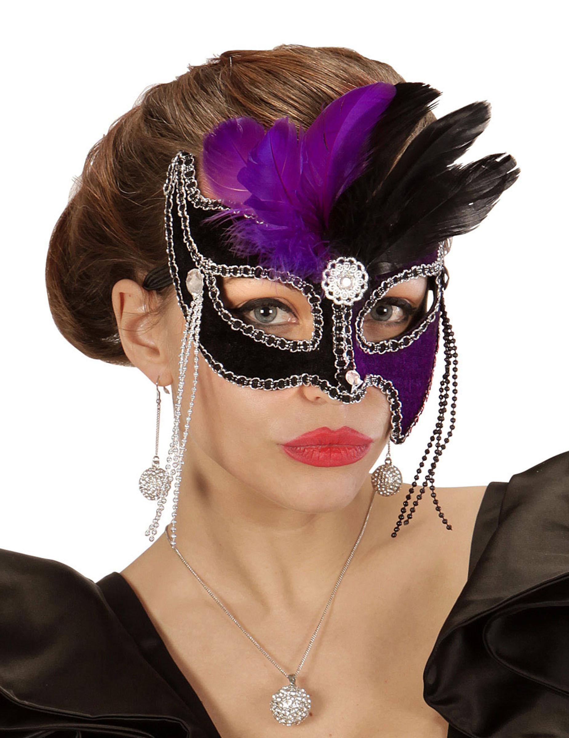 loup bicolore violet et noir avec plumes femme d coration anniversaire et f tes th me sur. Black Bedroom Furniture Sets. Home Design Ideas
