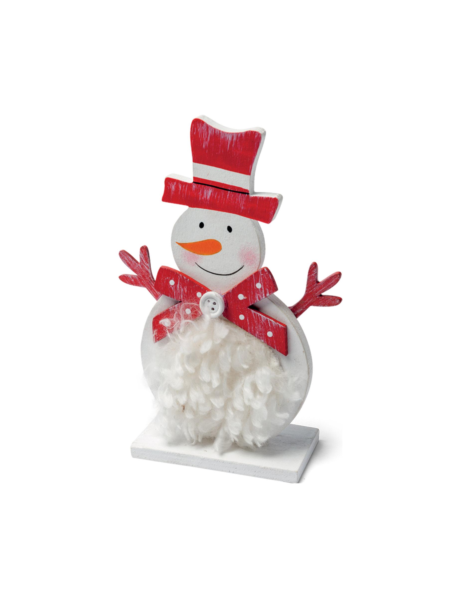 Bonhomme de neige en bois avec fourrure 15 cm d coration anniversaire et f tes th me sur - Bonhomme de neige en bois ...