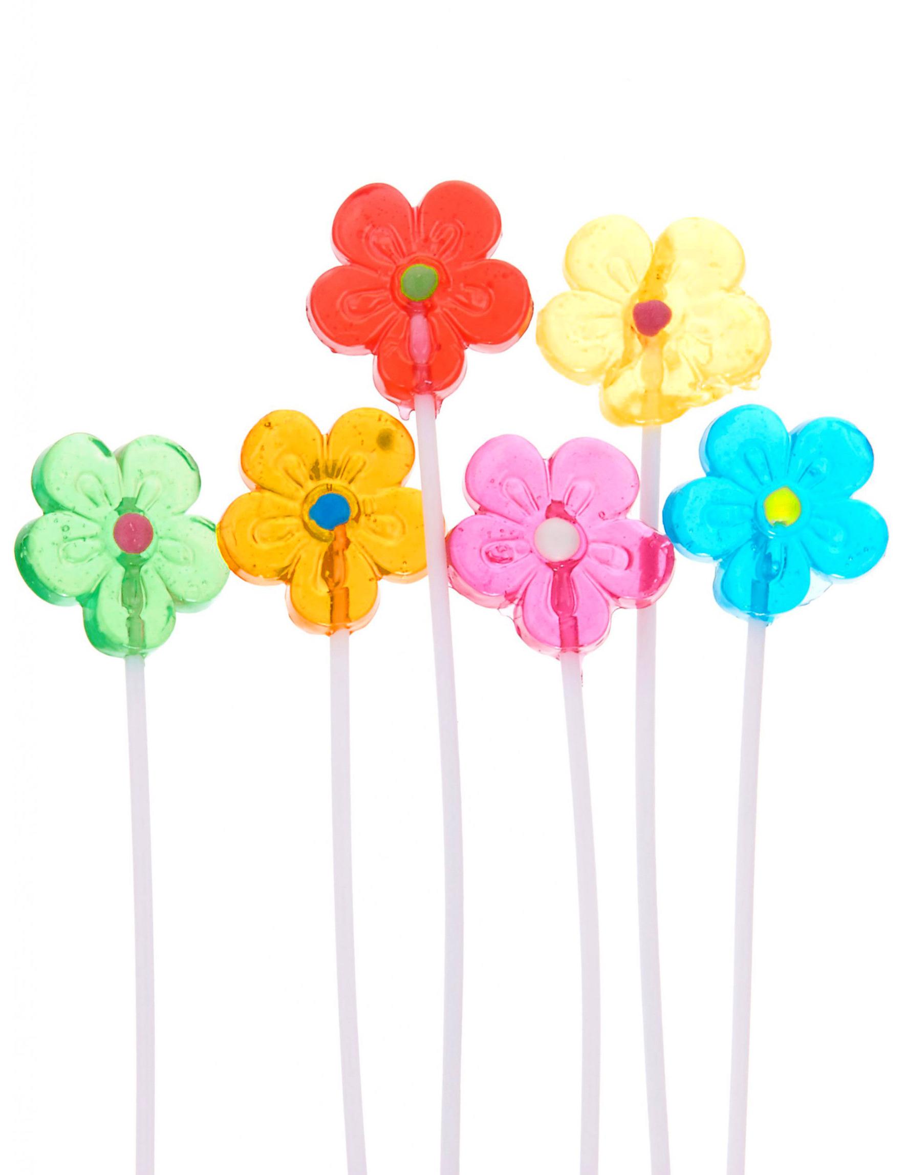 Bouquet de 6 sucettes fleur d coration anniversaire et for Bouquet de fleurs 6 lettres