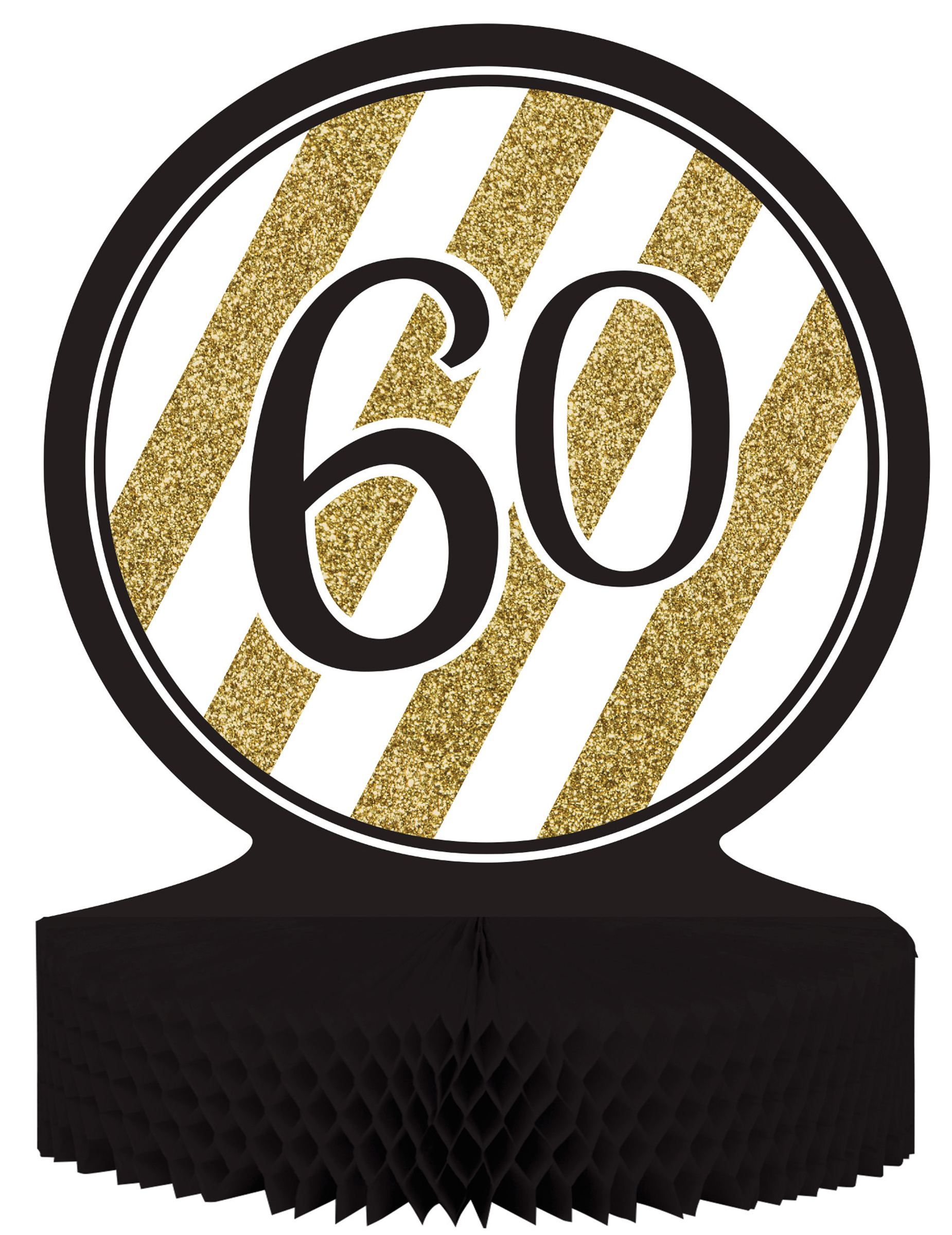 centre de table 60 ans anniversaire noir et or d coration. Black Bedroom Furniture Sets. Home Design Ideas