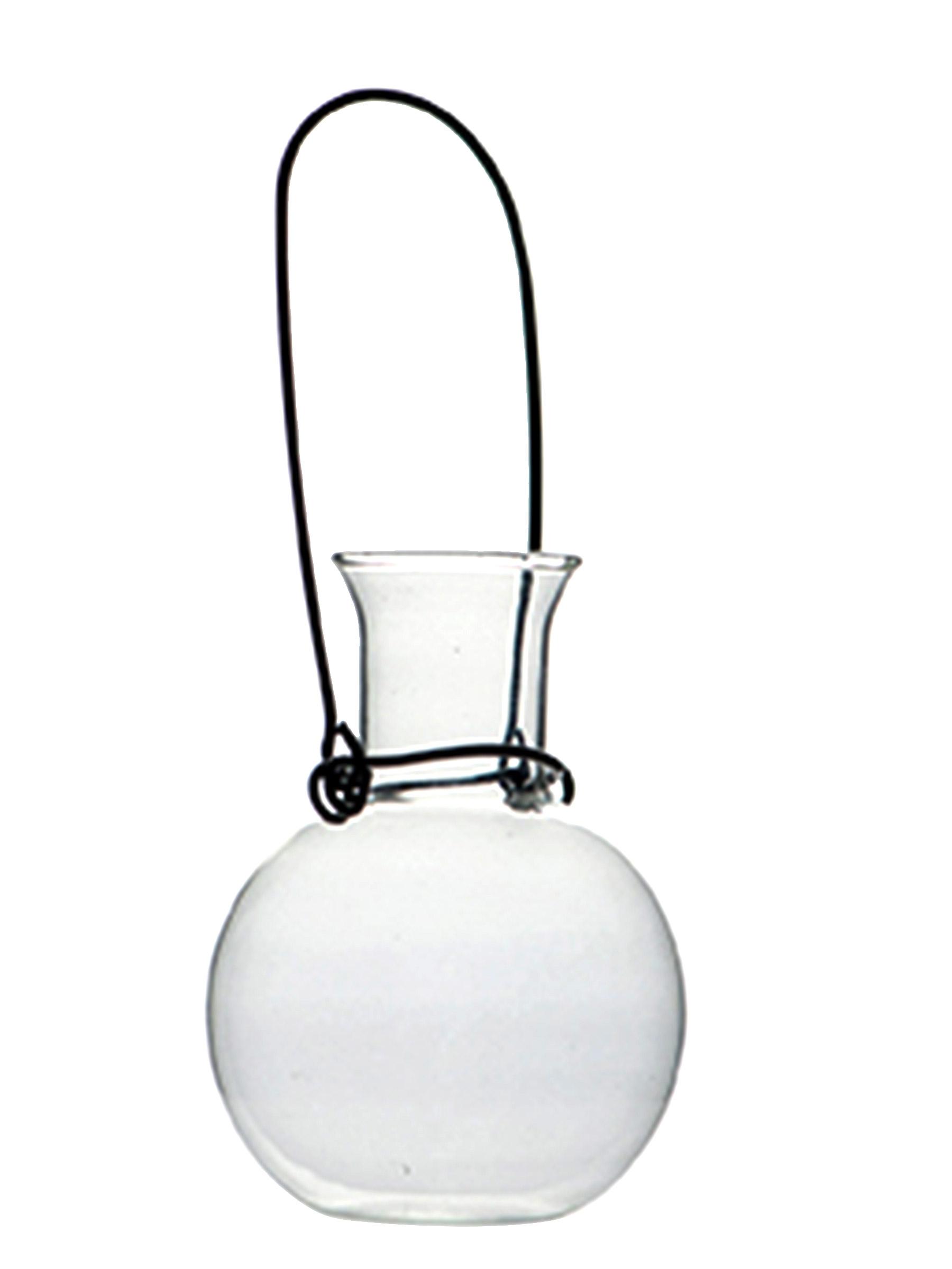 petite fiole en verre avec anse en acier d coration. Black Bedroom Furniture Sets. Home Design Ideas