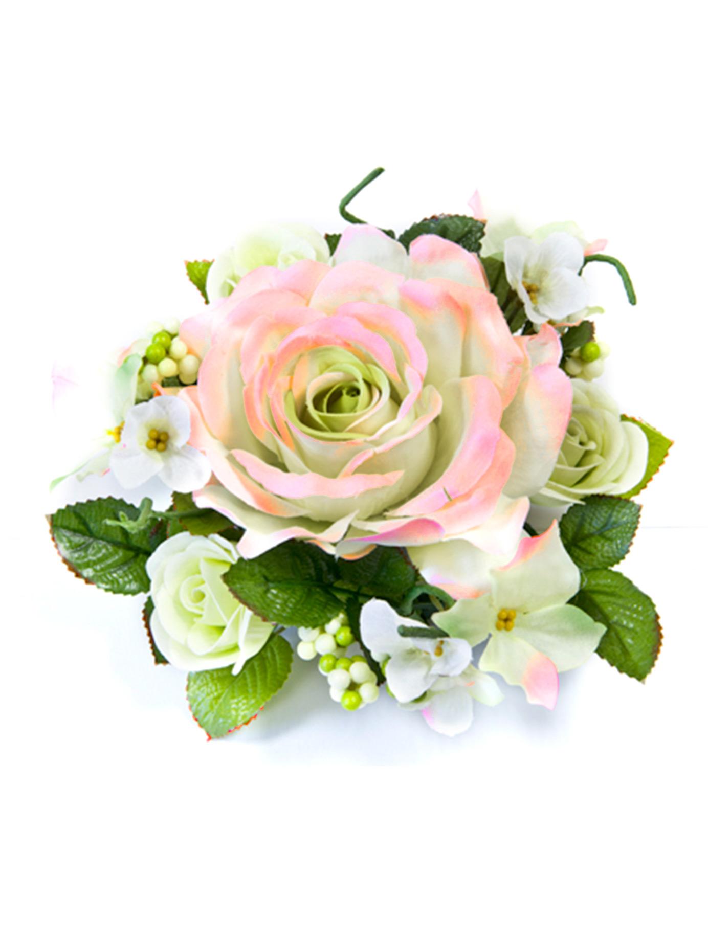 Centre de table fleurs artificielles roses ivoire et roses - Centre de table fleurs artificielles ...