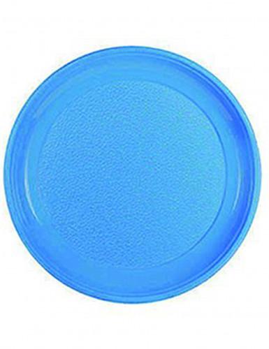 12 assiettes bleues rondes en plastique 25 cm. Black Bedroom Furniture Sets. Home Design Ideas