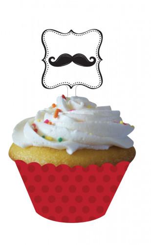 12 d corations pour cupcake moustache d coration anniversaire et f tes th me sur vegaoo party. Black Bedroom Furniture Sets. Home Design Ideas