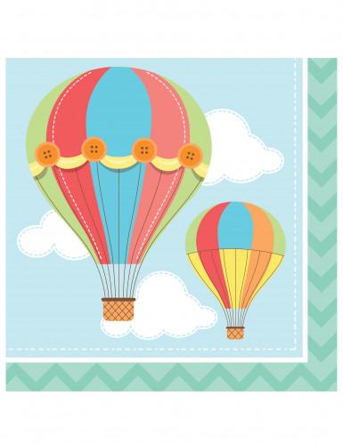 16 serviettes en papier petite montgolfi re 33 x 33 xm - Montgolfiere en papier ...