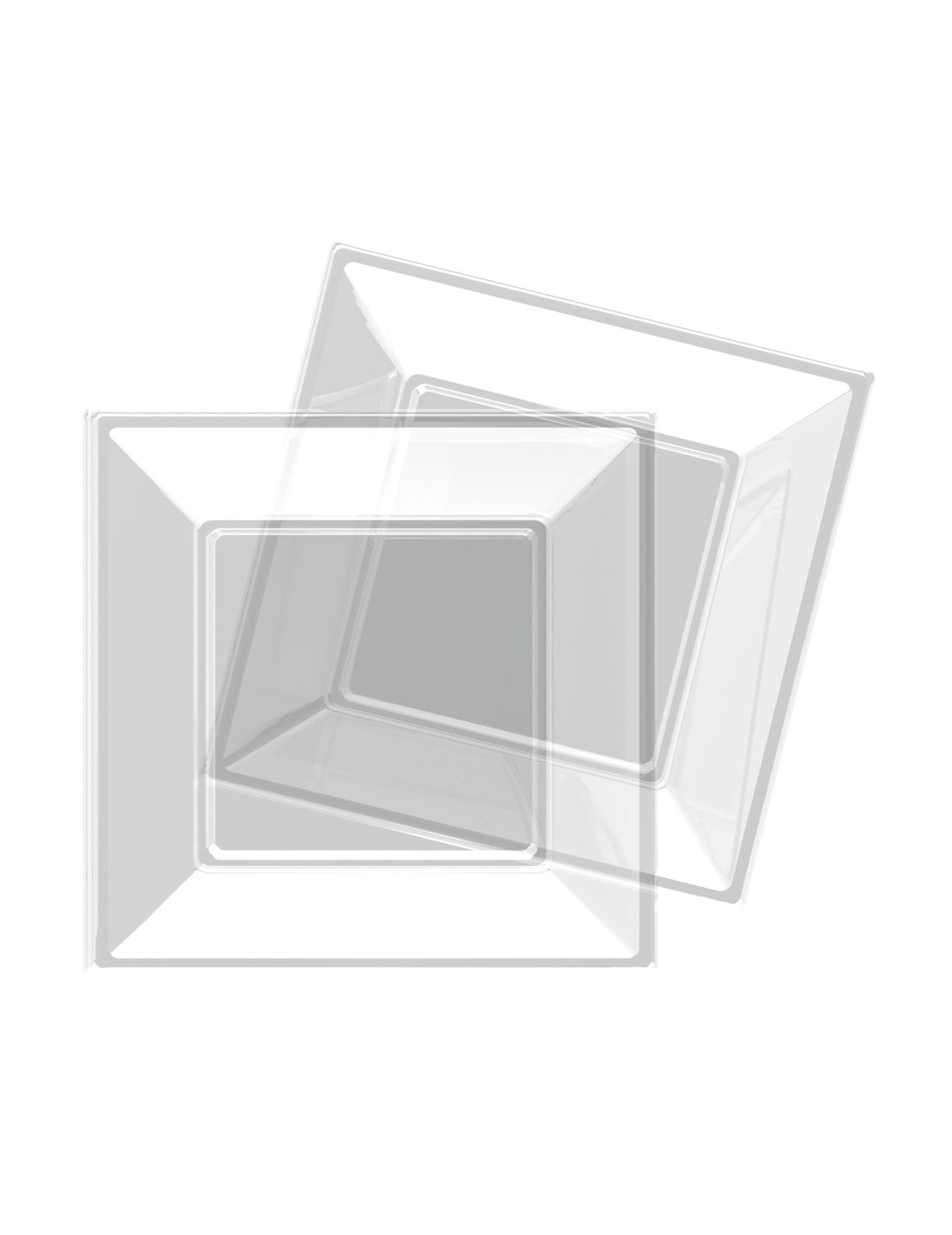 8 assiettes transparentes carr es en plastique 18 cm modus vivendi d coration anniversaire et. Black Bedroom Furniture Sets. Home Design Ideas