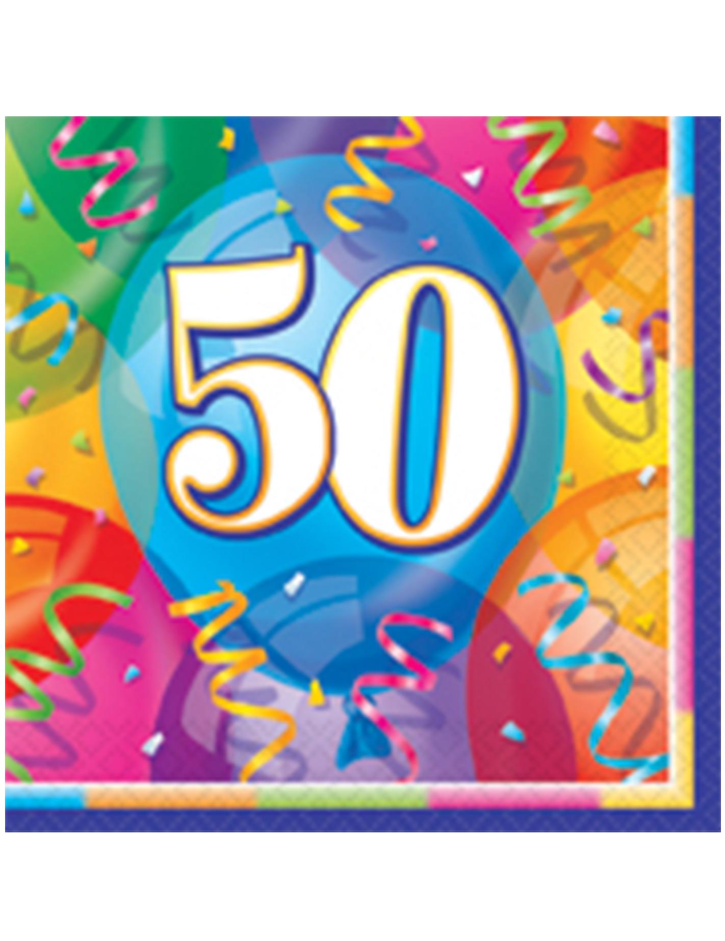 16 serviettes en papier joyeux anniversaire 50 ans 33 x 33 cm d coration anniversaire et f tes. Black Bedroom Furniture Sets. Home Design Ideas