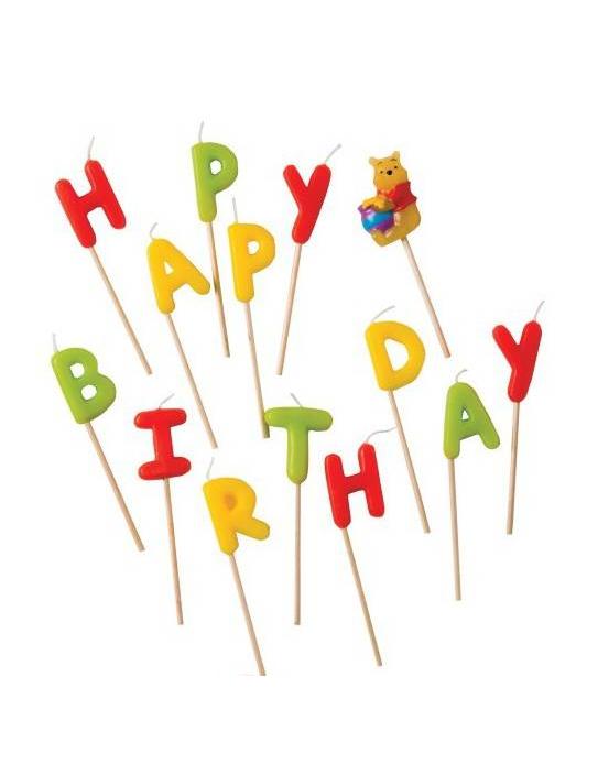 14 bougies lettres winnie l 39 ourson d coration - Decoration anniversaire winnie l ourson ...