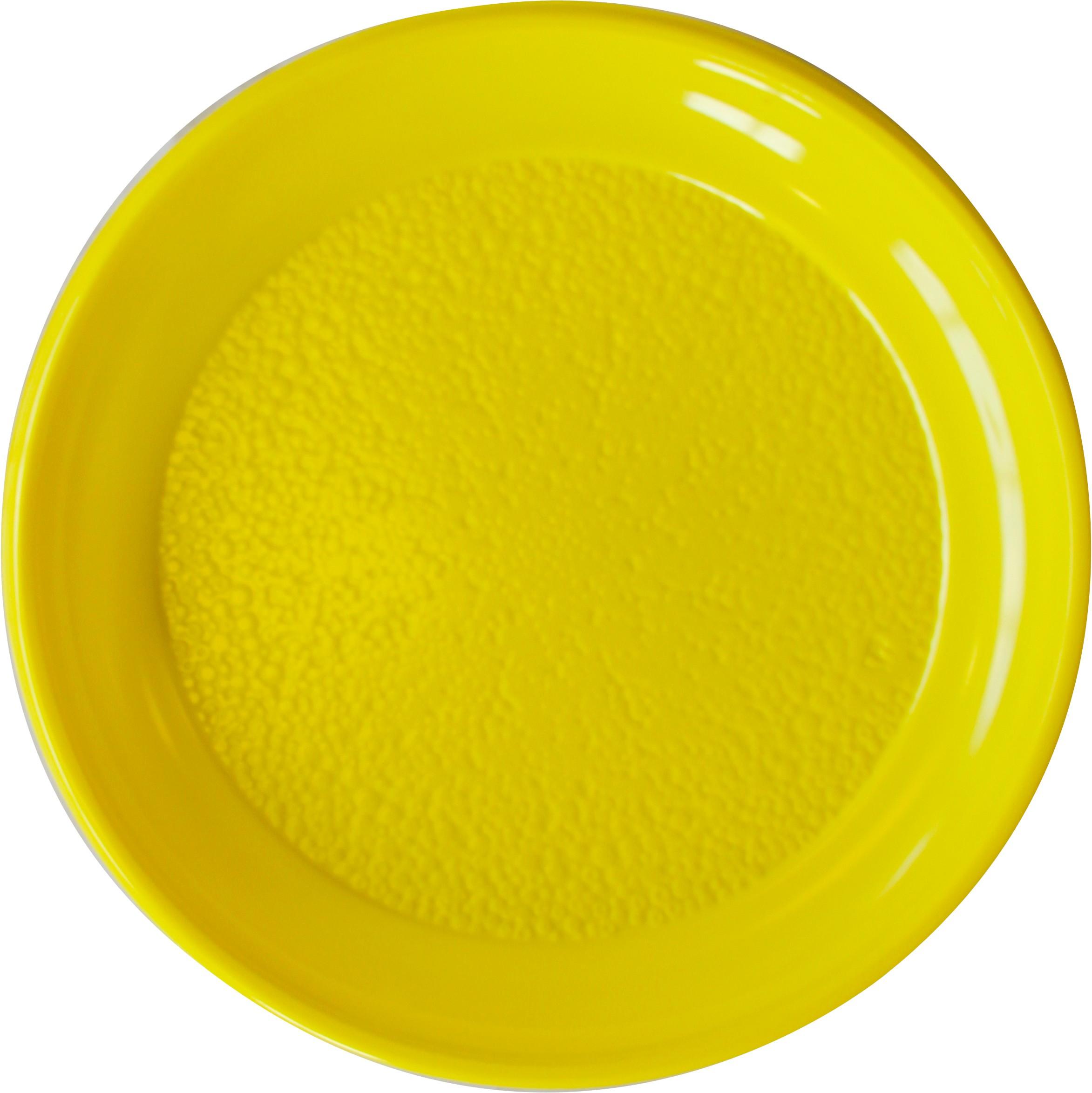 20 assiettes jaunes rondes en plastique 25 cm. Black Bedroom Furniture Sets. Home Design Ideas