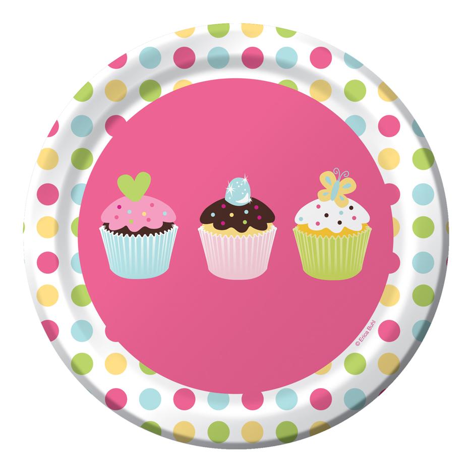 8 assiettes carton cupcake anniversaire vegaoo party achat de f tes. Black Bedroom Furniture Sets. Home Design Ideas
