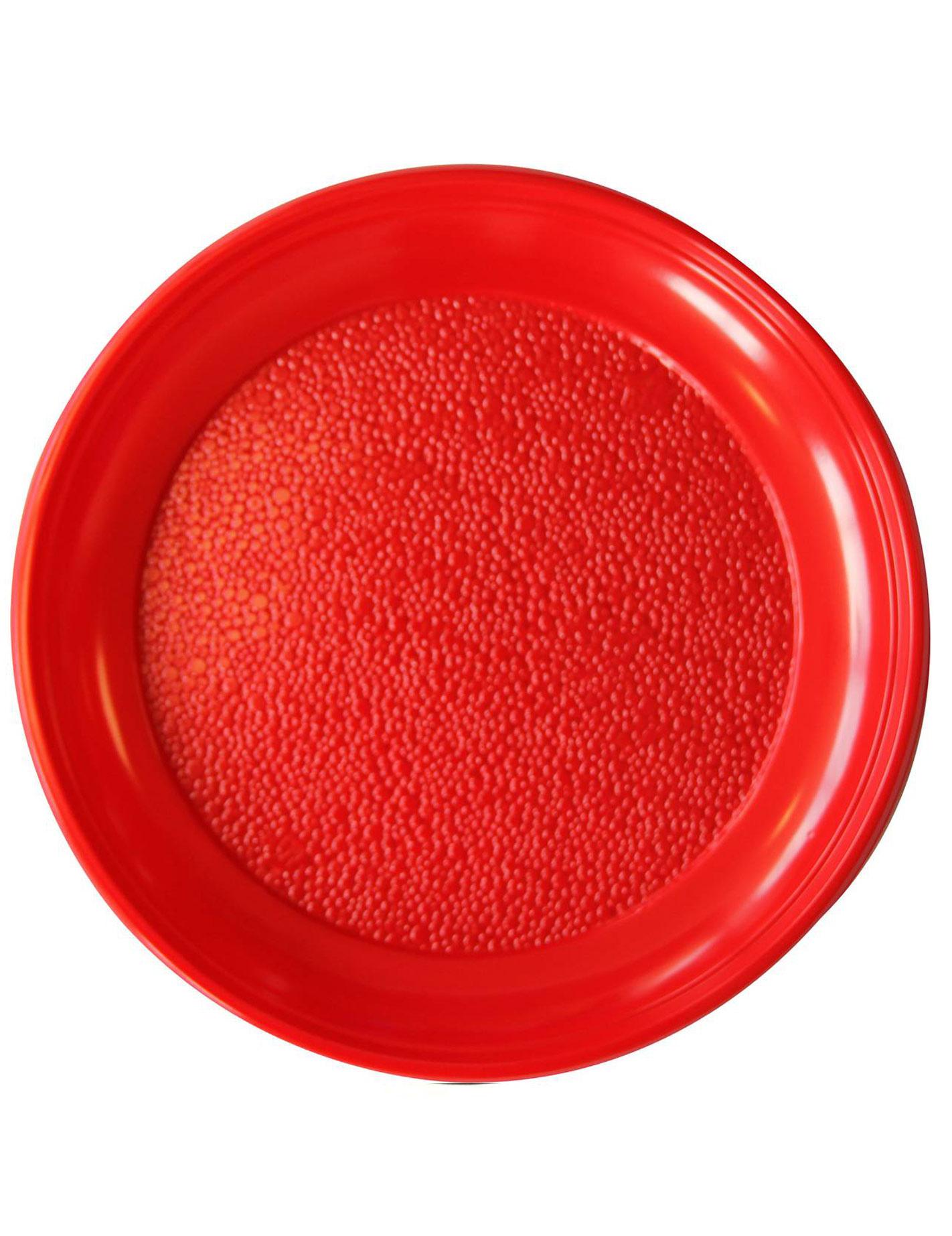 20 assiettes rouges rondes en plastique 22 cm. Black Bedroom Furniture Sets. Home Design Ideas