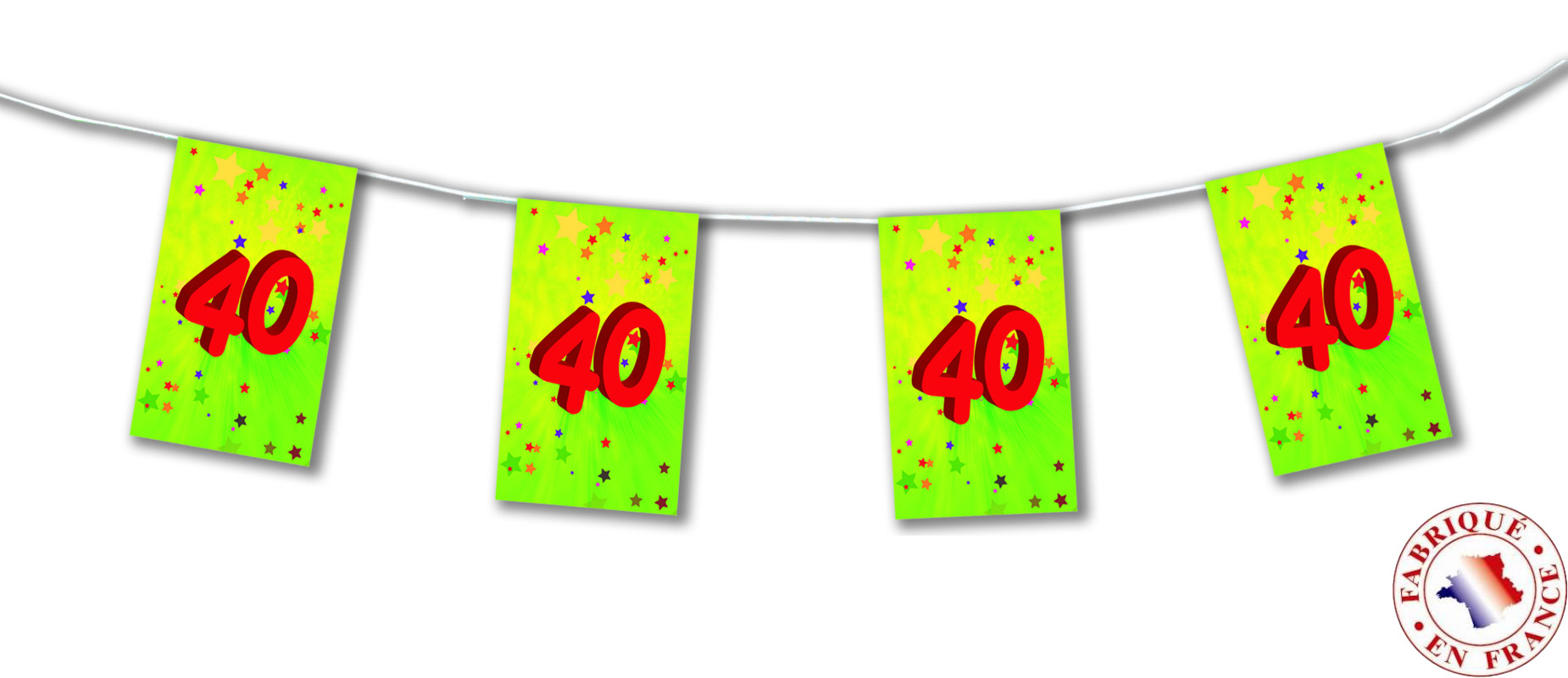 guirlande fanions papier 40 ans 4m d coration anniversaire et f tes th me sur vegaoo party. Black Bedroom Furniture Sets. Home Design Ideas