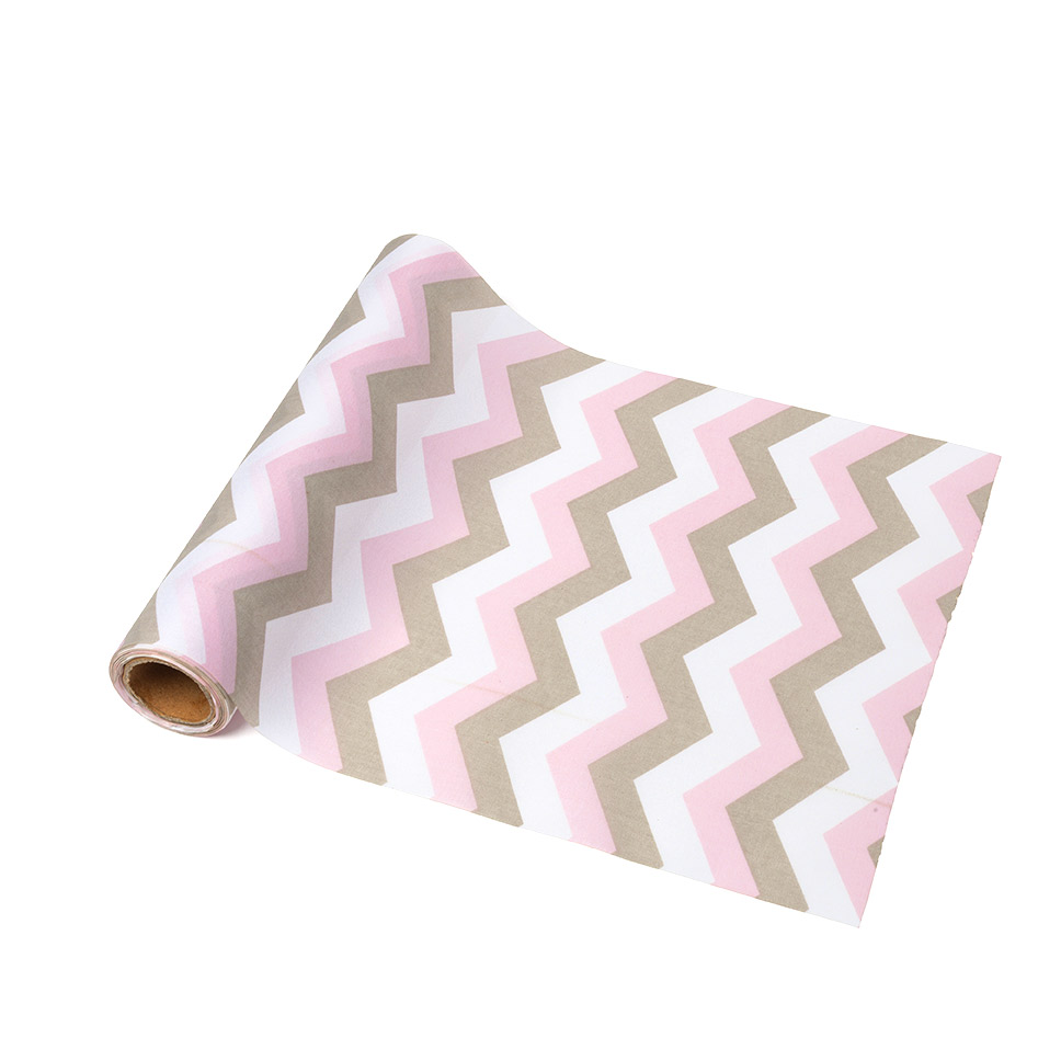 chemin de table tissu chevrons rose blanc taupe. Black Bedroom Furniture Sets. Home Design Ideas