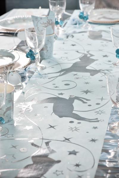 Chemin de table renne bleu d coration anniversaire et for Chemin de table bleu