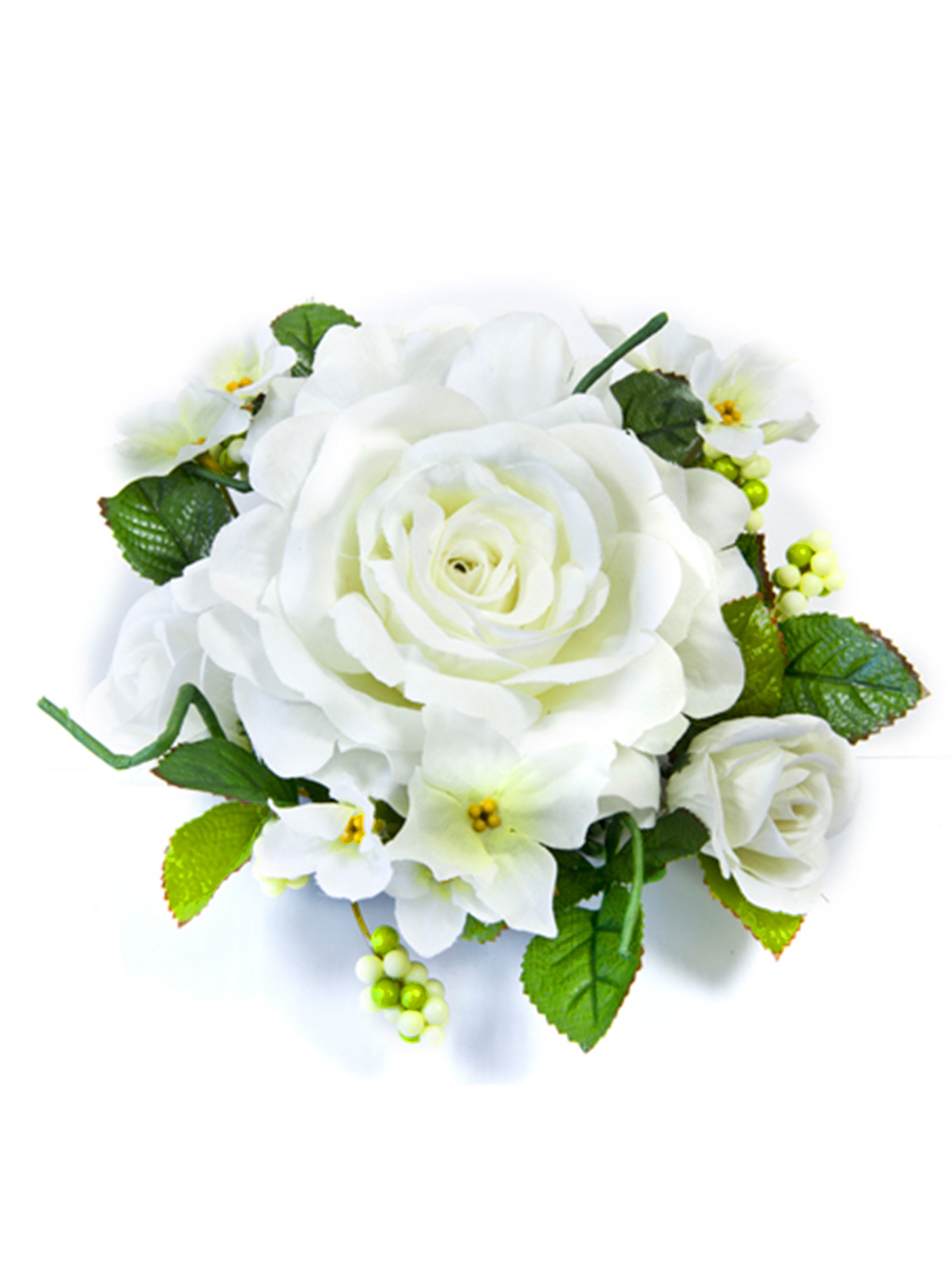 Centre de table fleurs artificielles roses blanches for Bouquet de fleurs centre de table