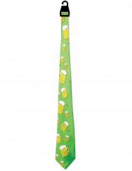 Cravate verte imprimé chope de bière Saint-Patrick adulte