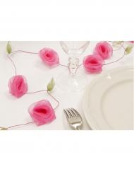 Guirlande de roses organza fuschia 2,5 cm