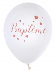 8 Ballons en latex Baptême blancs et corails 23 cm
