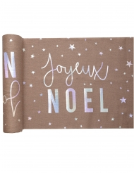 Chemin de table en coton Joyeux Noël métal irisé 30 cm x 3 m