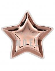 10 Assiettes en carton étoiles joyeux noël métal rose gold 22 cm