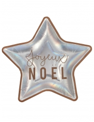 10 Assiettes en carton étoiles joyeux noël métal irisé 22 cm