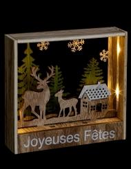 Décoration cadre lumineux à poser rennes 16 cm