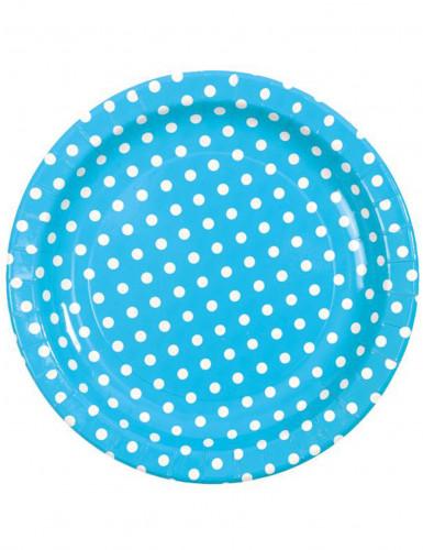10 Assiettes turquoise à pois blancs en carton 23 cm