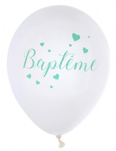 8 Ballons en latex Baptême blancs et menthe 23 cm