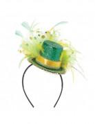 Mini chapeau haut de forme vert avec plumes